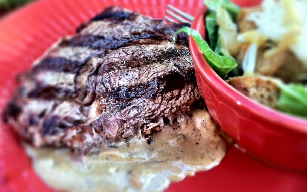 Grilled Ribeye Steak With Onion Blue Cheese Sauce Recipe ...
