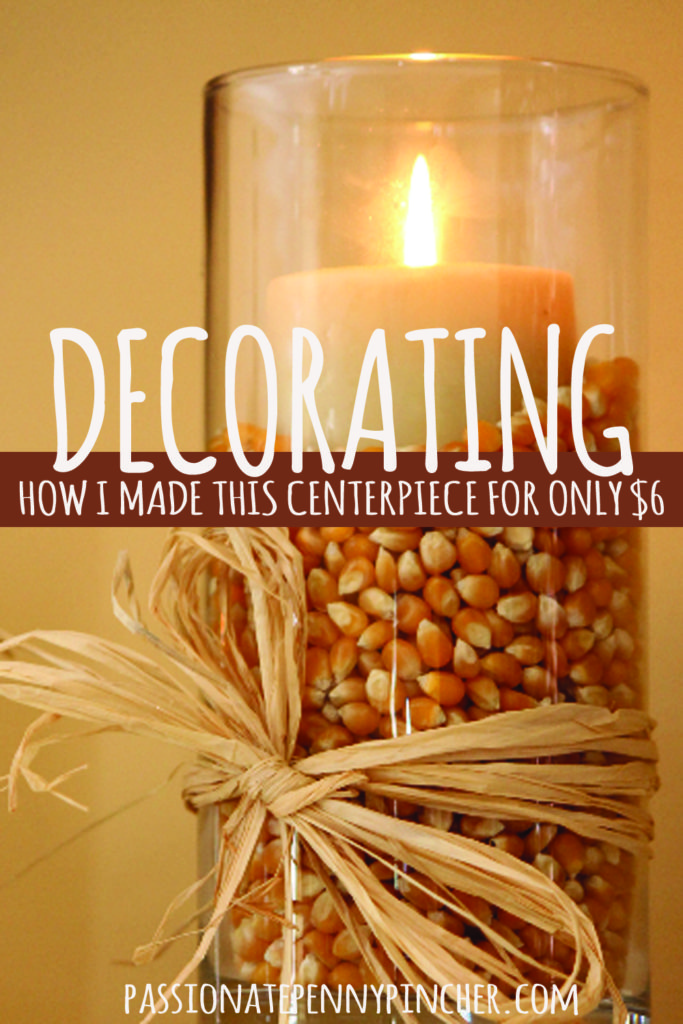 Decorate for cheap with help from The Dollar Tree! I made this seasonal centerpiece for only $6. Frugal decorating can be done!