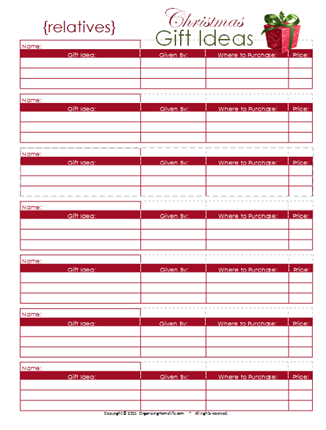 Organizing Homelife Christmas Printables