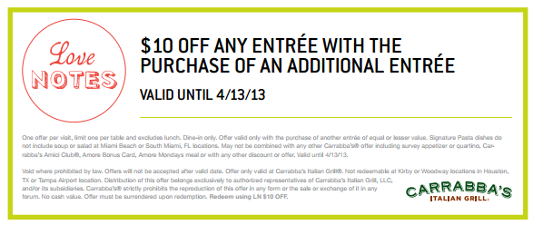 living spaces printable coupon 10 any carrabba 39 s entree printable 23456 | carrabbas