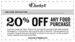 picture relating to O'charley's 20 Off Printable Coupon named 20% Off at OCharleys