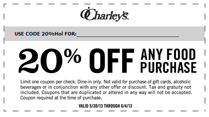 graphic relating to O'charley's 20 Off Printable Coupon identified as 20% Off at OCharleys