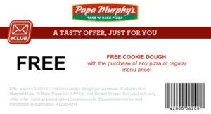 image relating to Printable Papa Murphys Coupons identified as Papa murphys cookie dough coupon : Least complicated television support offers 2018