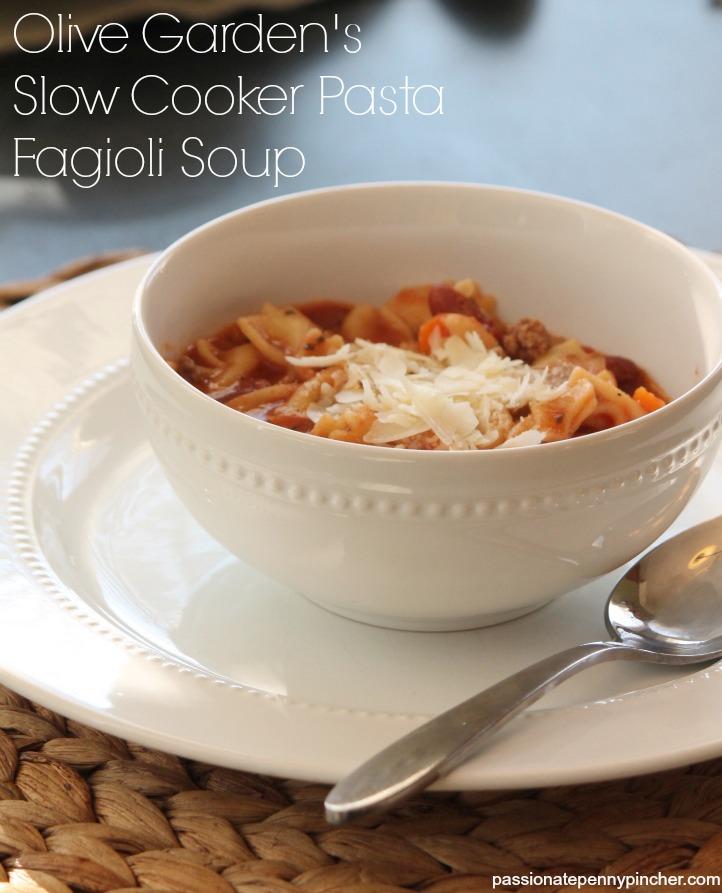 Olive Garden Pasta Fagioli Soup Recipe Slow Cooker Passionate Penny Pincher