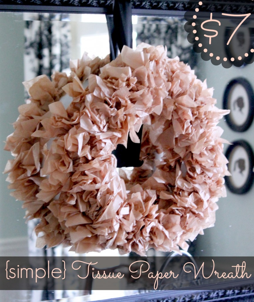 tissue paper wreath This wreath is beautiful and cheap but it took quite a long time to make so if you decided to try it, be committed to many nights of work :) tear out three pages from a book.
