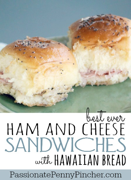 These Hawaiian bread ham and cheese sandwiches are the BEST EVER little sandwiches! You can't go wrong with these little pint-sized snacks. Pack them for lunch or have them for a quick dinner on the go!