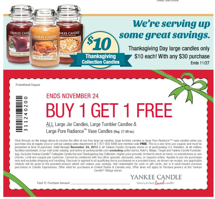 living spaces printable coupon yankee candle bogo thanksgiving promo 23456 | yankee