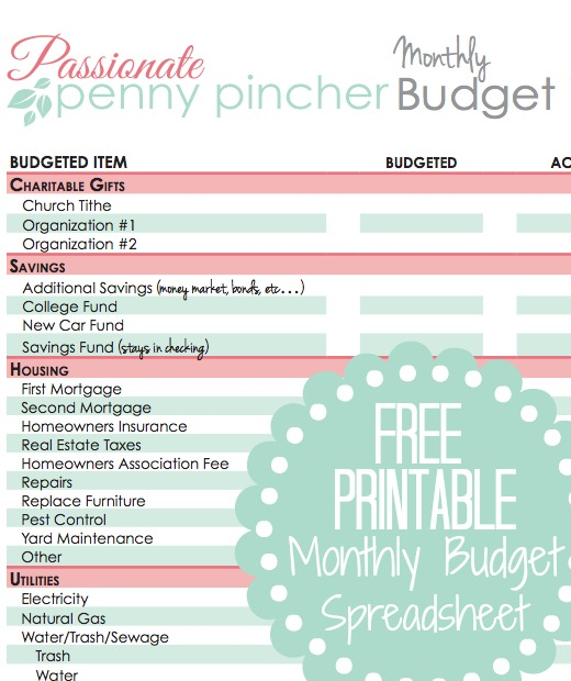 monthly budget free printable