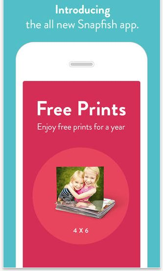 100 free prints each month for a year with snapfish app download