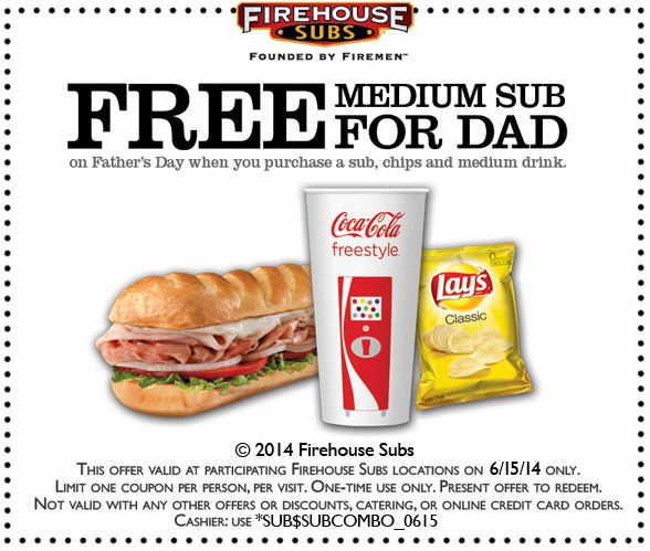 photo regarding Printable Menu Firehouse Subs called Absolutely free Sub for Father at Firehouse