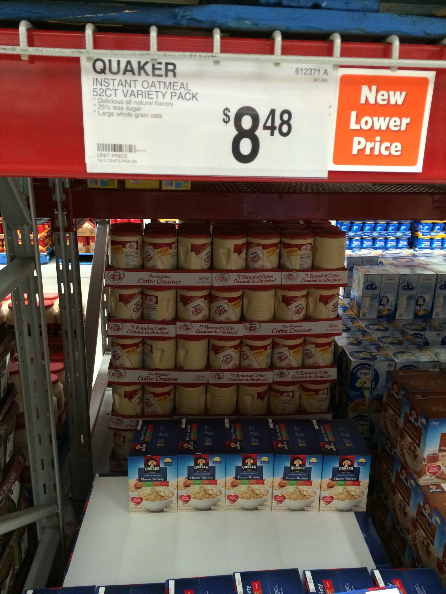 sam s club vs costco prices sam s instant quaker oatmeal 52 ct 8 48 16 each costco instant quaker oatmeal 52 ct 8 55 16 each