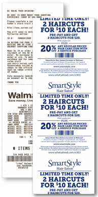 Smartstyle coupon on walmart receipt