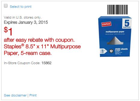 Pick Up FIVE Reams Of Staples Multipurpose Paper For Only 100 After Coupon With Easy Rebate Through 1 3 15