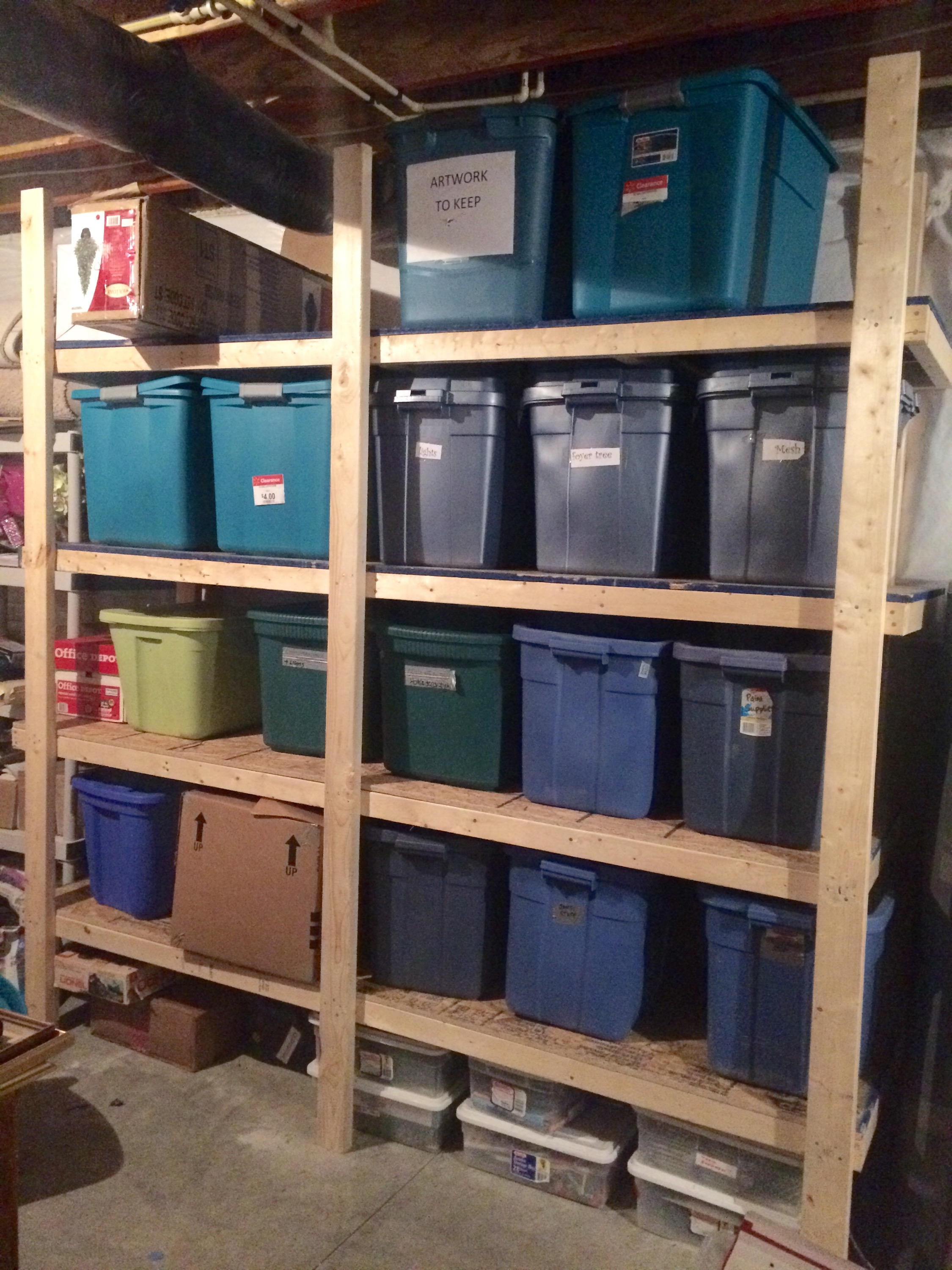our 70 storage bin shelving part one passionate penny pincher. Black Bedroom Furniture Sets. Home Design Ideas