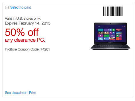 Staples coupon including computers
