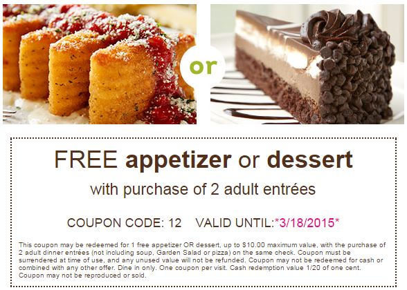Free Appetizer Or Dessert At Olive Garden Passionate Penny Pincher