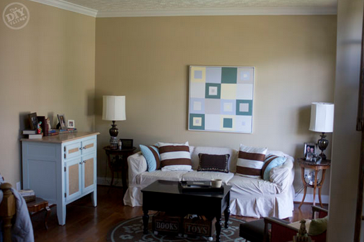 See How Matt At The Diy Village Updated His Living Room Using Lowe S Valspar Color Morning Jog Great Name For A Paint By Way