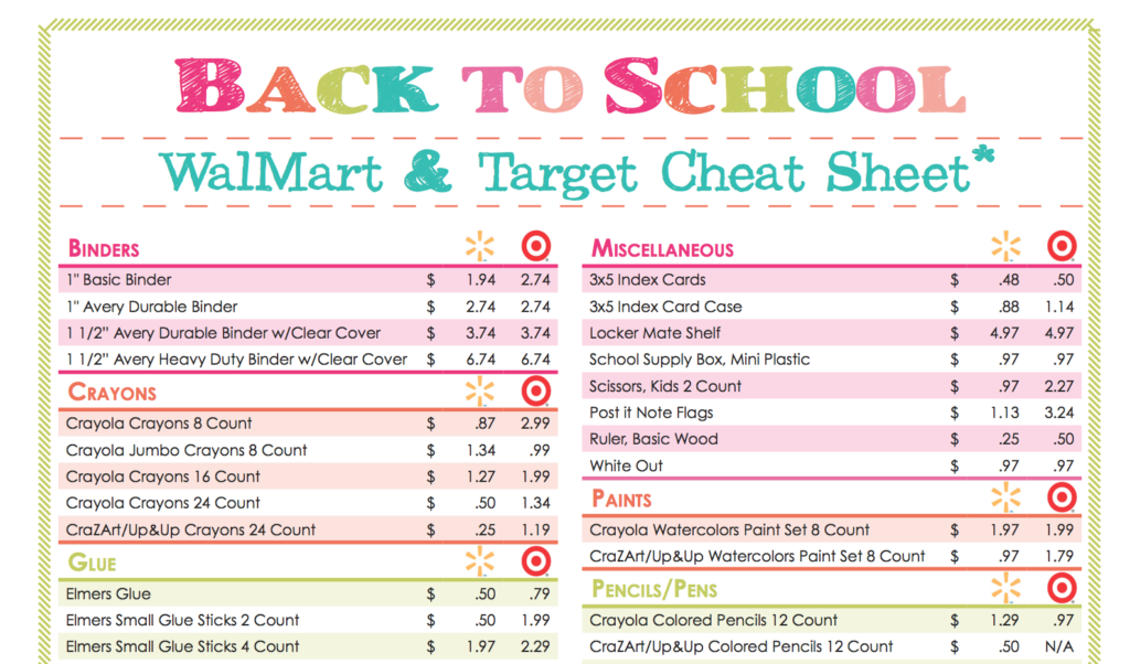 Free Back To School Walmart Amp Target Stock Up Price Cheat