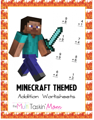 Free Minecraft Themed Addition Worksheets