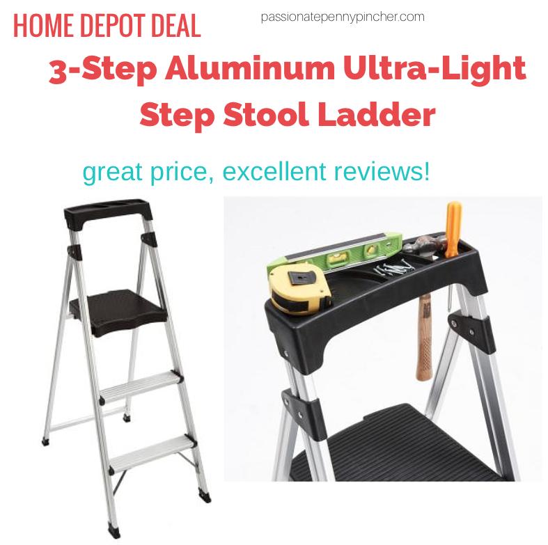 Gorilla Ladders 3 Step Aluminum Ultra Light Step Stool