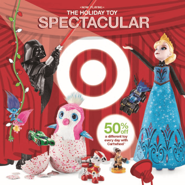 5f8698b1753 From November 1st – December 24th, Target will be releasing a new 50% off  Cartwheel offer each day on a select toy! This should make for some great  deals.