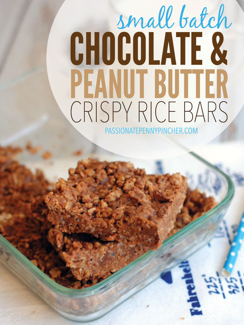 Small Batch Chocolate & Peanut Butter Crispy Rice Bars | Passionate ...