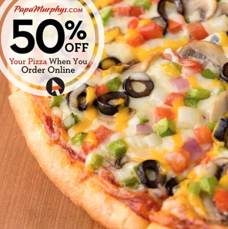 image regarding Papa Murphy's Coupon Printable titled Conserve 50% Off Complete On the web Papa Murphys Pizza Purchase