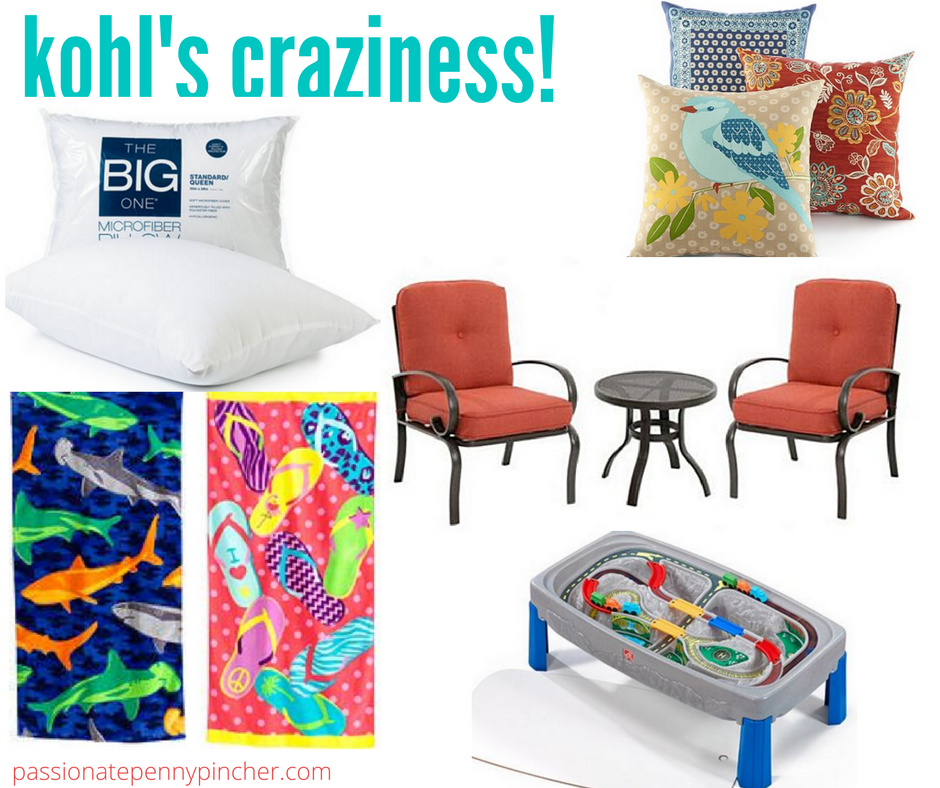 Kohl 39 S Craziness Patio Sets Beach Towels Pillows Train Table More Passionate Penny Pincher