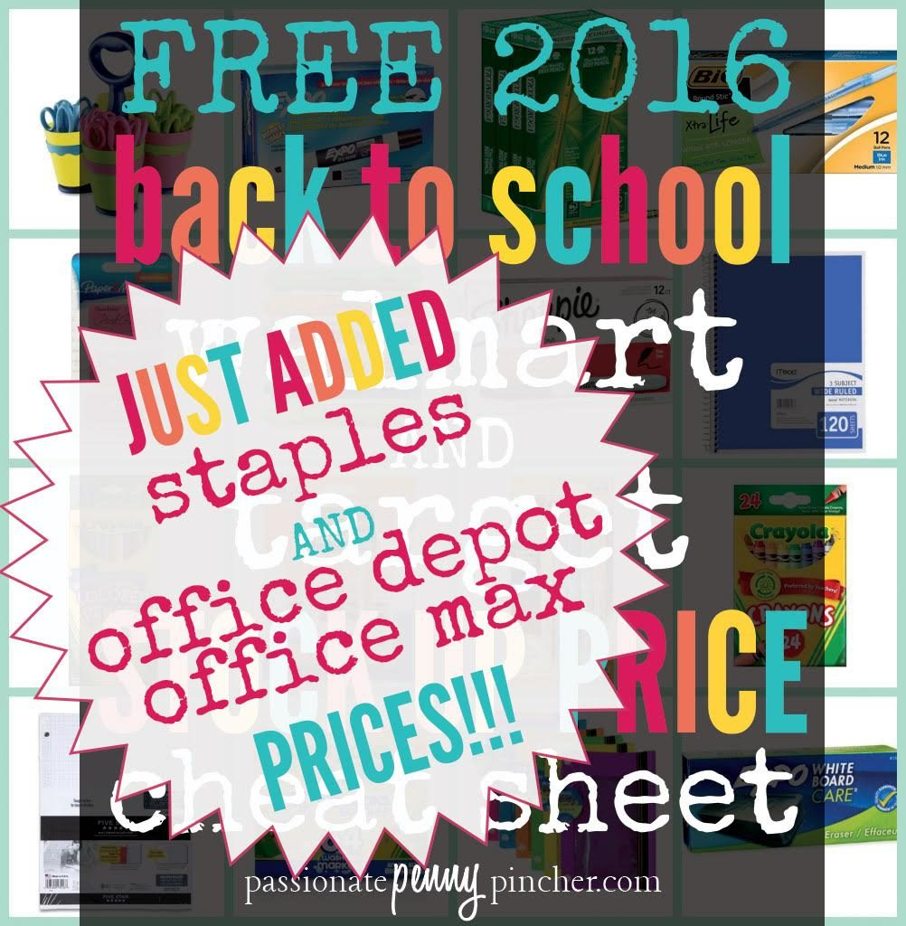 Office depot color printing costs - Go Here To Print Your Free Printable Back To School Price Comparison Cheat Sheet And Share With Your Friends This School Season So They Can Pinch Those