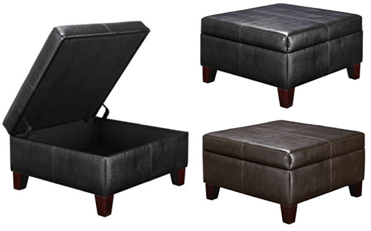 Faux Leather Square Storage Ottoman 69 Passionate Penny