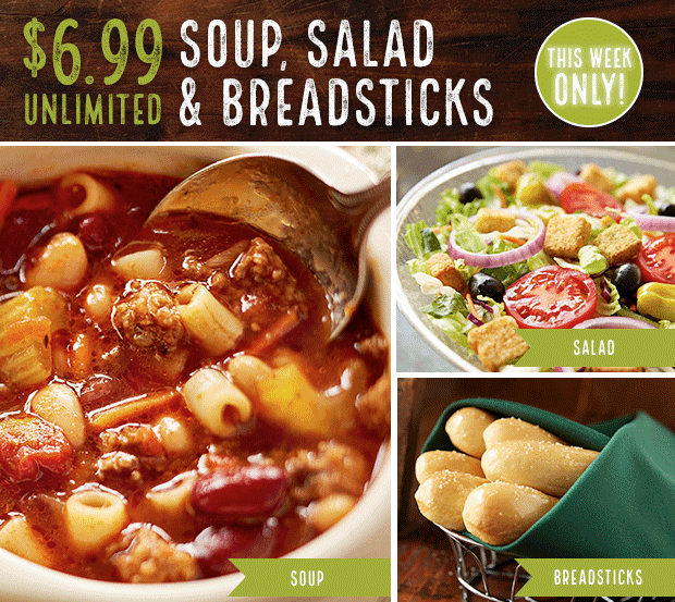699 Unlimited Lunch Combo at Olive Garden ENDS TOMORROW