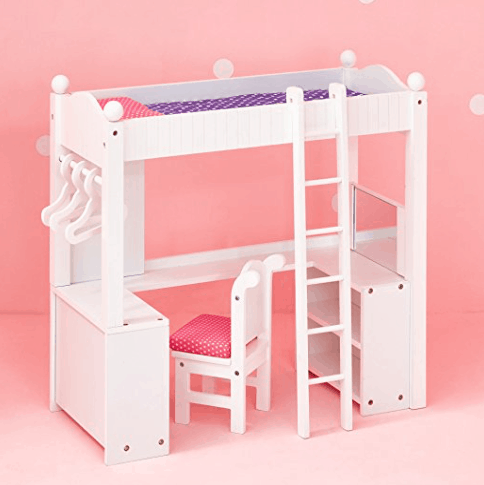 Lowest Price 18 Doll Bunk Bed With Desk Fits American Girl