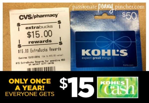 cvs buy 50 kohls gift card get 15 ecb and 15 kohl s cash