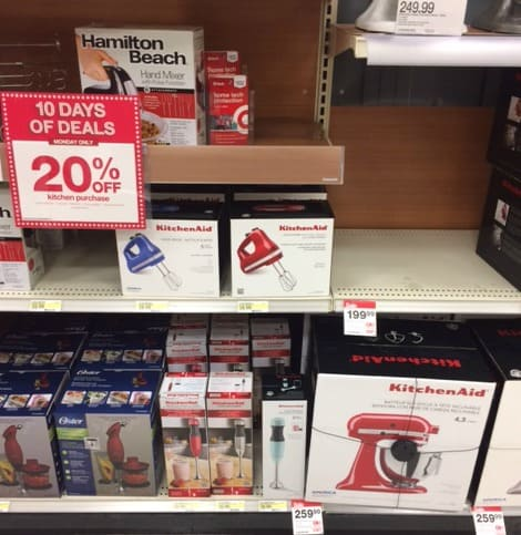 target 20% kitchen appliances today only (including kitchenaid