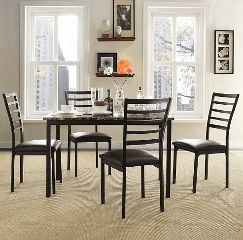 homevance-5-piece-stinson-faux-marble-dining-set