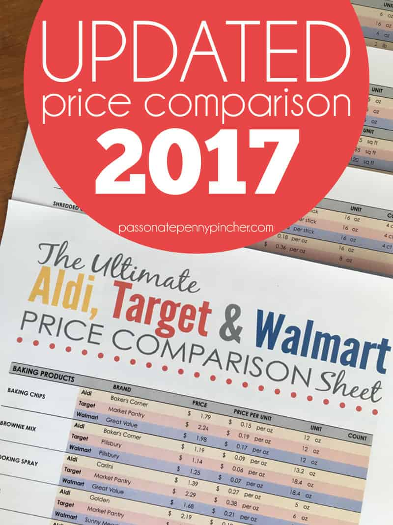 the ultimate aldi  target  u0026 walmart price comparison sheet