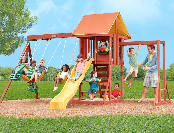 Save $150 On Big Backyard Cedarbrook Wood Gym Swing Set ...