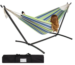 Double Hammock with Space Saving Steel Stand and Portable Carrying Case