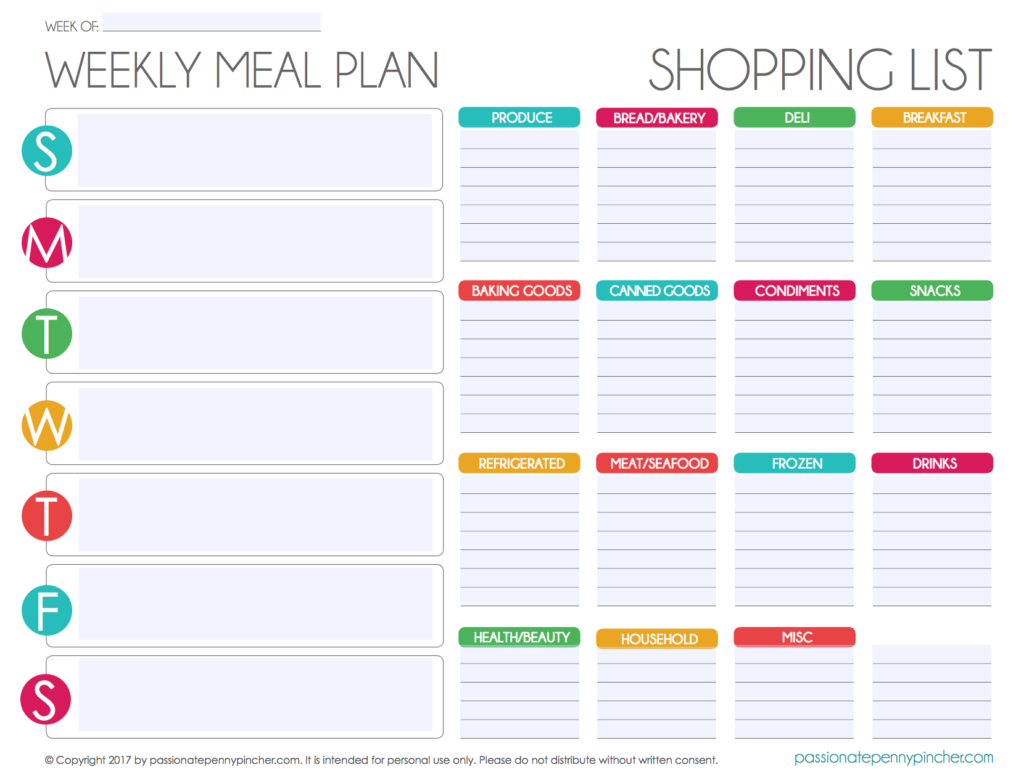 free editable menu plan and grocery list passionate penny pincher