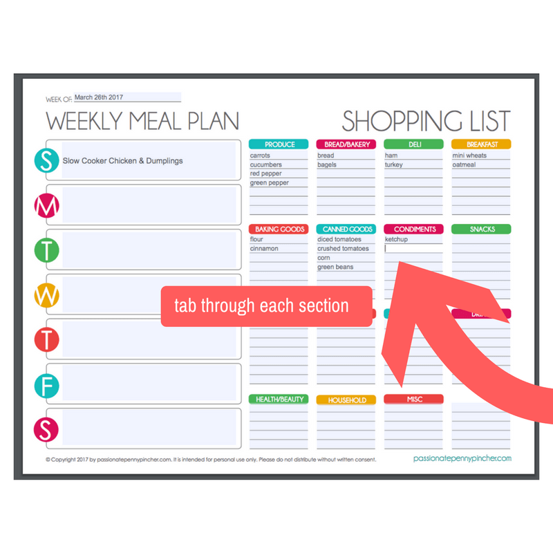 You Will Need To Start By Putting Your Cursor In That First Blue Box And  Begin Entering Your Menu Plan For The Week. The Form Is Set Up So You Can  TAB ...  Grocery List Form