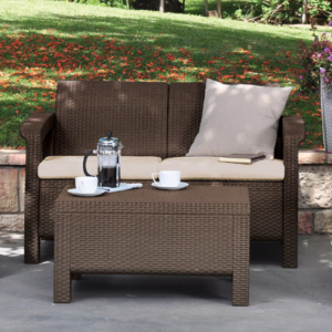 All-Weather Patio Love Seat with Cushions