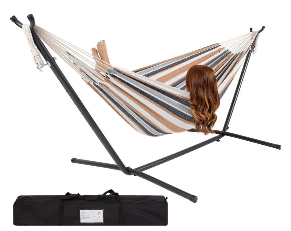 right now on ebay you can get this double hammock with space saving steel stand and portable carrying case  or red or brown  for just  46 39 with     double hammock with stand and carrying case  46 39  regularly      rh   passionatepennypincher