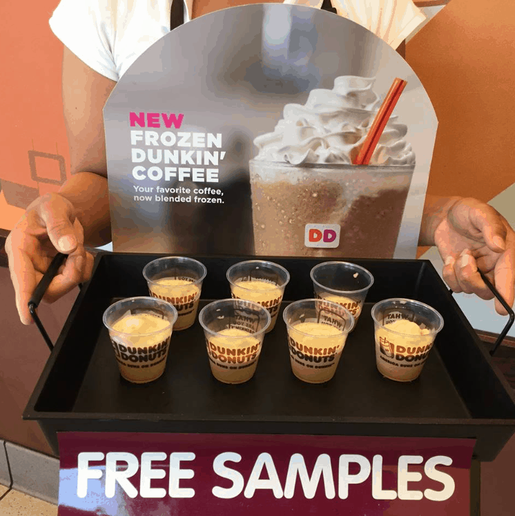 Free dunkin' donuts frozen coffee sample today only.