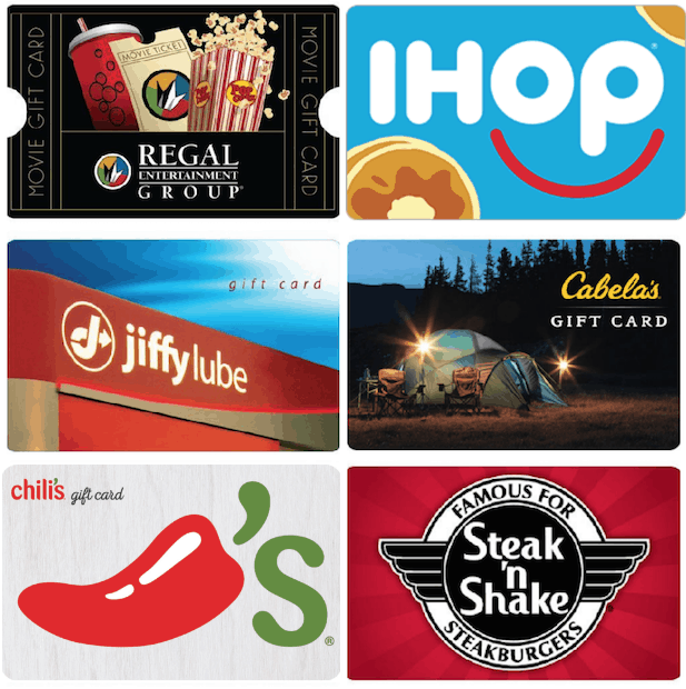 you can score some nice savings on select gift cards today on ebay these include free shipping or free email delivery here are just a few that you can get