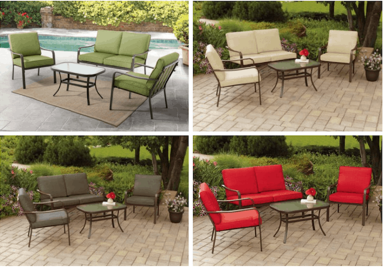 Mainstays Stanton Cushioned 4 Patio Conversation Set Seats