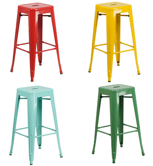 Tabouret 24 Inch White Metal Counter Stools