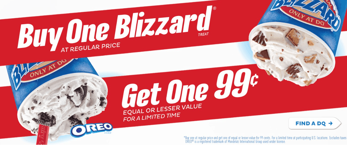 Dairy Queen Buy One Blizzard Get One For 99