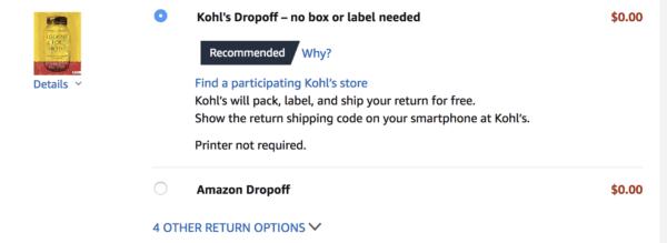 Take advantage of free Kohl's Amazon returns.