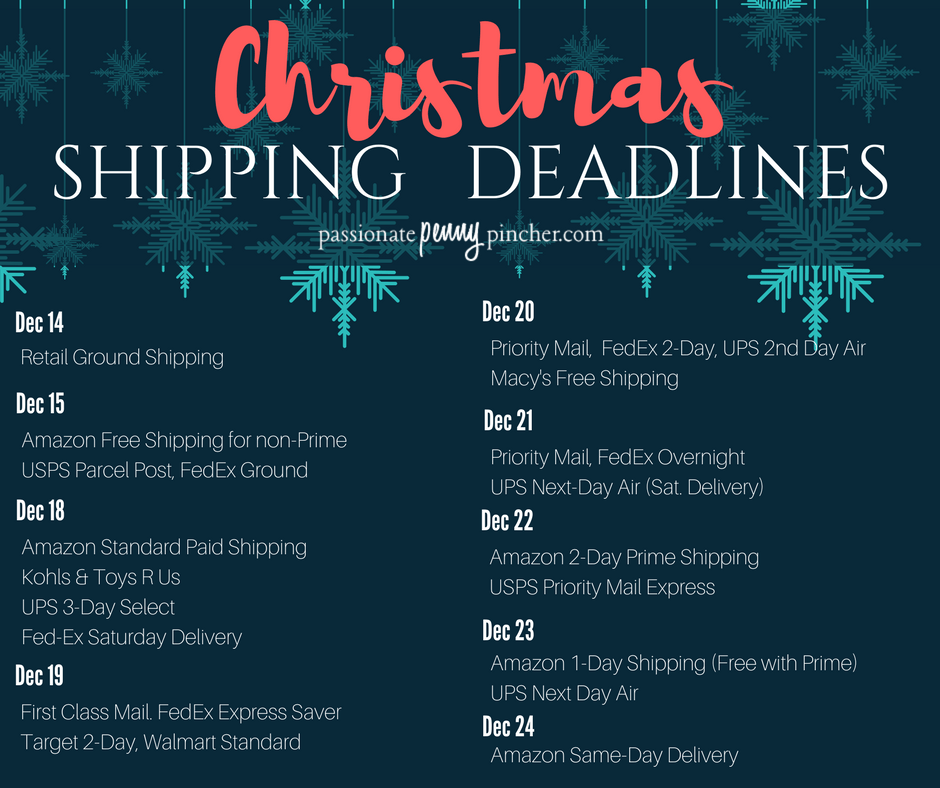 this master list of holiday shipping deadlines will help you get those gifts in the mail