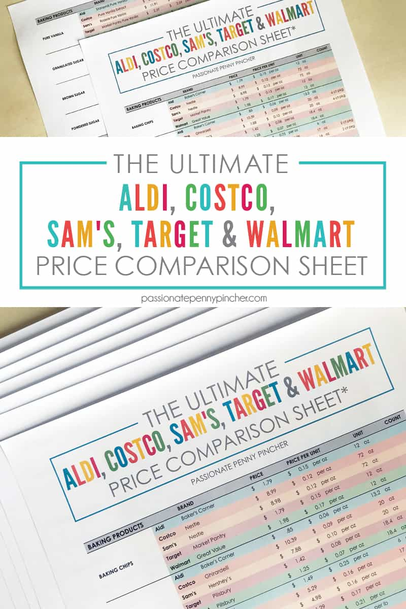 Do you struggle finding the lowest price at your local stores for every day items? Look NO FURTHER! We have pulled together the ultimate comparison sheet at Aldi, Costco, Sam's, Target & Walmart!!